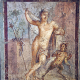 Italy, Naples, Naples Museum, from Pompeii, House of Meleager (VI 9, 2.13), Emafrodito and Panisco Photographic Print by Samuel Magal