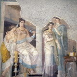 Naples, Naples Museum, from Herculaneum, Pompeian Ladies with their Slave Hairdresser Photographic Print by Samuel Magal