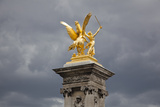 France, Paris, Pont Alexander III Bridge, Golden Statue Photographic Print by Samuel Magal