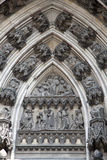 Germany, Cologne, Cologne Cathedral, Southern Facade, Portal of Ursula, Tympanum Relief Photographic Print by Samuel Magal
