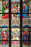 Prague, St. Vitus Cathedral, Stained Glass Window, Jesus' Feet Washed, St Bartholomew, St Matthew Photographic Print by Samuel Magal