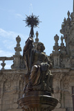 Spain, Santiago de Compostella, Cathedral of Santiago de Compostella, Southern Facade, Fountain Top Photographic Print by Samuel Magal