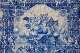 Portugal, Porto, Capela Das Almas, Azulejo, Detail, Saint Francis in front of Pope Honorious III Photographic Print by Samuel Magal