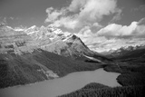 Banff Peyto Lake in Canadian Rockies Black White Photo