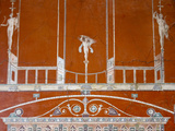 Italy, Naples, Naples Museum, from Herculaneum, Fragment of Architecture with Satyrs Photographic Print by Samuel Magal