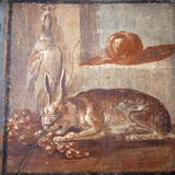 Italy, Naples, Naples National Archeological Museum, from Herculaneum, Still-life, Hare and grapes Photographic Print by Samuel Magal