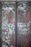 Italy, Siena, Siena Cathedral, Main Facade, Main Door, Bronze Relief, Glorification of the Virgin Photographic Print by Samuel Magal