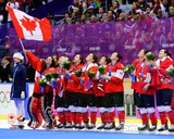 Team Canada Womens Olympic Hockey Team Celebrates winning the Gold Medal 2014 Winter Olympics Photo