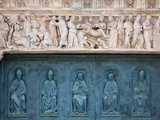 Italy, Siena, Siena Cathedral, Decorated Bronze Door and Sculptured Lintel Photographic Print by Samuel Magal