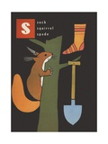 S Is for Sock Squirrel Spade Giclee Print