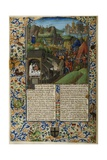 Illuminated Manuscript Page with Saul and the Battle of Mount Gilboa Giclee Print