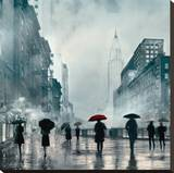 New York Red Umbrella Stretched Canvas Print by Robert Canady