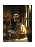 A Woman Sewing Giclee Print by Jules Trayer