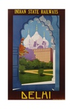 Visit India - Indian State Railways, Delhi Poster Giclée-tryk