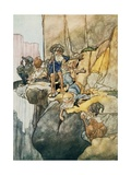 Illustration Depicting the Seven Dwarfs Mining Giclee Print by Charles Robinson