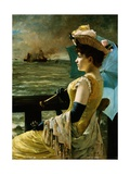 A Lady with a Parasol Looking Out to Sea Giclee Print by Alfred Stevens