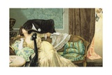 Postcard of Lovers Kissing on a Couch Giclee Print