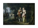 Louis XIV with Louise De La Valliere in the Bois De Vincennes Giclee Print by Jean Frederic Schall