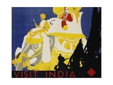 Visit India Poster Giclee Print by Tom Purvis