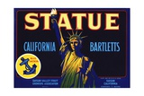 Statue California Bartletts Pear Fruit Crate Label Giclee Print