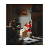 A Gentleman Reading a Letter to His Wife in an Interior Giclee Print by Pieter de Hooch