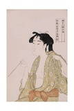 A Half-Length Portrait of a Woman Smoking Giclee Print by Kitagawa Utamaro