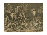 Hannibal's Elephants Attacking Roman Legions Giclee Print