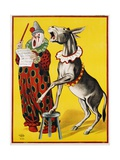 Poster Depicting a Clown and Donkey Singing Giclee Print