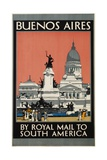 Buenos Aires by Royal Mail to South America Poster Giclée-tryk af Kenneth Shoesmith