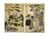 Prints Depicting the Harvesting and Preparation of Mulberry Leaves from Silkworm Culture Giclee Print by Kitagawa Utamaro