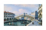 The Rialto Bridge on the Grand Canal, Venice, Looking South Reproduction procédé giclée par Adolf Sukkert