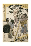 Print Depicting Women Picking Mulberry Leaves from Silkworm Culture Gicleetryck av Kitagawa Utamaro