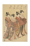 The Courtesans Mitsuhata, Senzan, Misayama, Itotaki, and Oribae Giclee Print by Hosoda Eishi