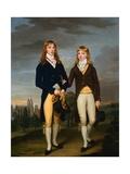 Portrait of Two Eton School Boys in Admontem Dress, Eton Chapel Behind Giclee Print by Francis Alleyne