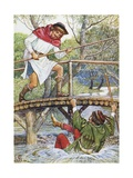 Book Illustration of Little John Knocking Robin Hood Off the Bridge Giclee Print by Walter Crane