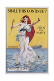 Shall This Continue Join the Navy Recruitment Poster Giclee Print