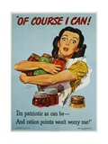 Of Course I Can! War Production Poster Giclee Print by Dick Williams
