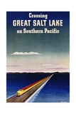 Crossing Great Salt Lake on Southern Pacific Giclee Print by Haines Hall