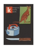 K Is for Kangaroo Kettle Knife Giclee Print