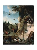A Peacock and Other Birds in the Gardens of a Palace Impression giclée par Melchoir D'Hondecoeter