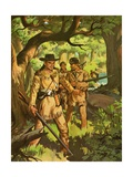 Daniel Boone with Trappers in Woods Giclee Print
