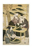 Print Depicting Women Cutting Mulberry Leaves from Silkworm Culture Gicleetryck av Kitagawa Utamaro