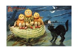 Hallowe'en Postcard with Jack-O'-Lanterns Giclee Print