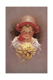 Postcard of a Little Girl with a Bouquet Giclee Print