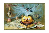 Halloween Postcard with a Magic Jack-O'-Lantern Giclee Print