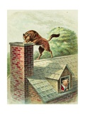 The Wolf Tries to Find a Way into the Brick House Giclee Print by Blanche Fisher Wright