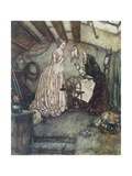 Illustration Depicting Sleeping Beauty Watching an Old Woman Spin Giclee Print by Edmund Dulac