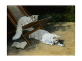 Painting of Two White Persian Cats with a Ladybug Giclee Print by Arthur Heyer