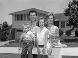 1960s Family Portrait in Front of Horse Photographic Print