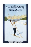 Austria for Winter Sports Poster Lámina giclée